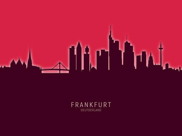 Frankfurt Art Print featuring the digital art Frankfurt Germany Skyline by Michael Tompsett