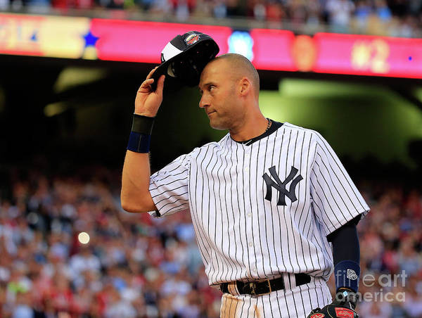 Crowd Art Print featuring the photograph Derek Jeter by Rob Carr