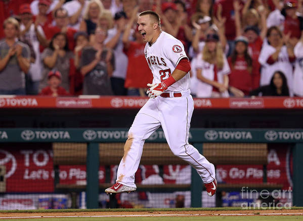 Ninth Inning Art Print featuring the photograph Mike Trout by Stephen Dunn