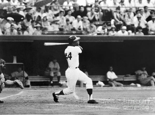 Sports Bat Art Print featuring the photograph Hank Aaron by National Baseball Hall Of Fame Library