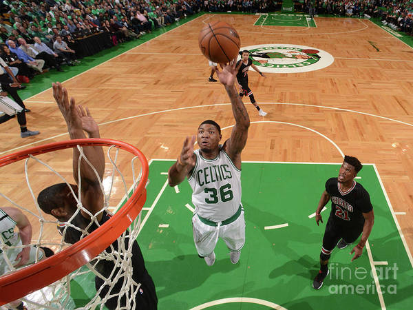 Playoffs Art Print featuring the photograph Marcus Smart by Brian Babineau