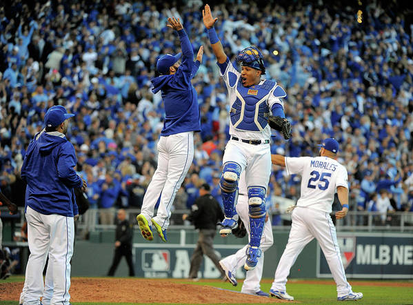 Game Two Art Print featuring the photograph Salvador Perez by Ed Zurga