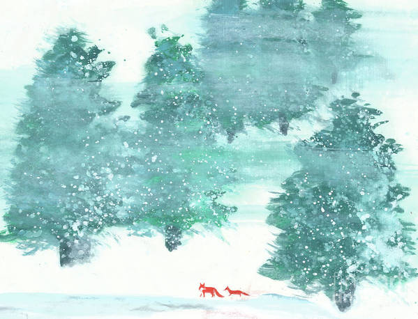 A Mother And Baby Fox Are Taking A Walk In The Wood. This Is A Simple Contemporary Chinese Brush Painting On Rice Paper. Art Print featuring the painting A Walk in the Wood by Mui-Joo Wee