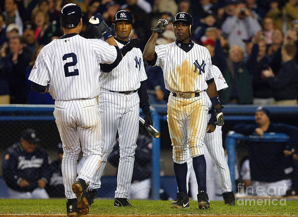 Alfonso Soriano Art Print featuring the photograph Alfonso Soriano, Derek Jeter, and Bernie Williams by Al Bello