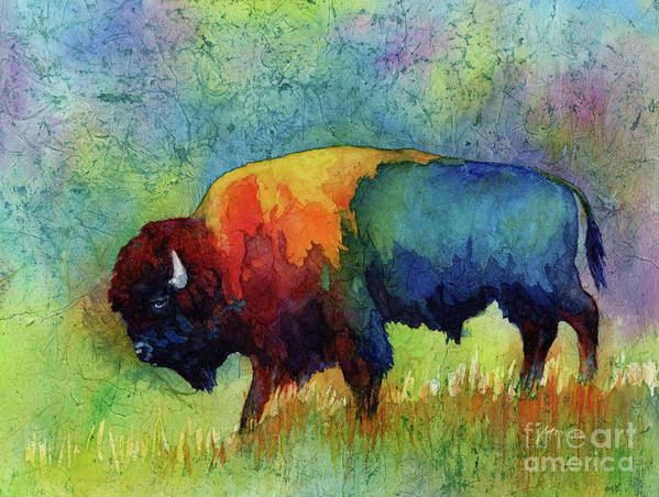 Bison Art Print featuring the painting American Buffalo III by Hailey E Herrera