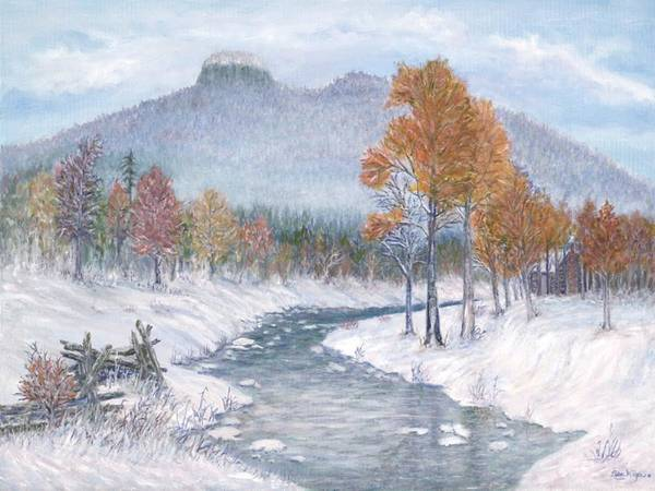 Snow Art Print featuring the painting Autumn Snow by Ben Kiger