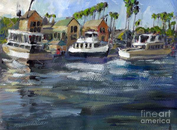 California Art Print featuring the painting Bait Dock Marina Del Rey by Randy Sprout