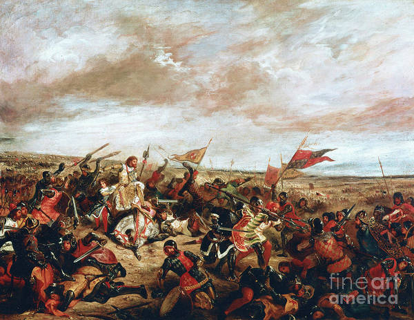 Poitiers Art Print featuring the painting Battle of Poitiers on September 19, 1356 by Ferdinand Victor Eugene Delacroix