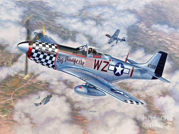 P-51 Mustang Art Print featuring the painting Big Beautiful Doll by Stu Shepherd