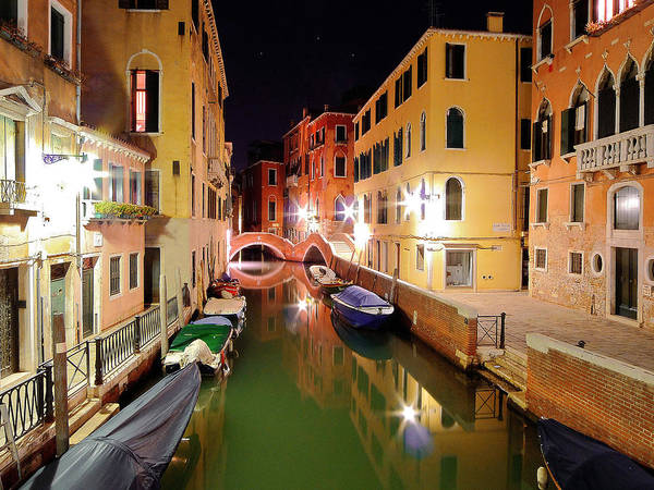 Outdoors Art Print featuring the photograph Boats in canal by Bernd Schunack