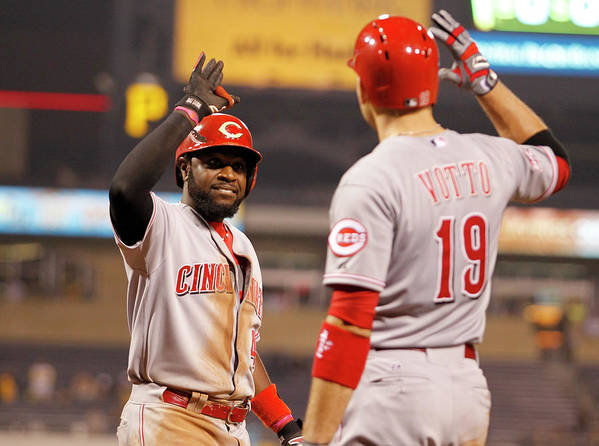 People Art Print featuring the photograph Brandon Phillips and Joey Votto by Justin K. Aller