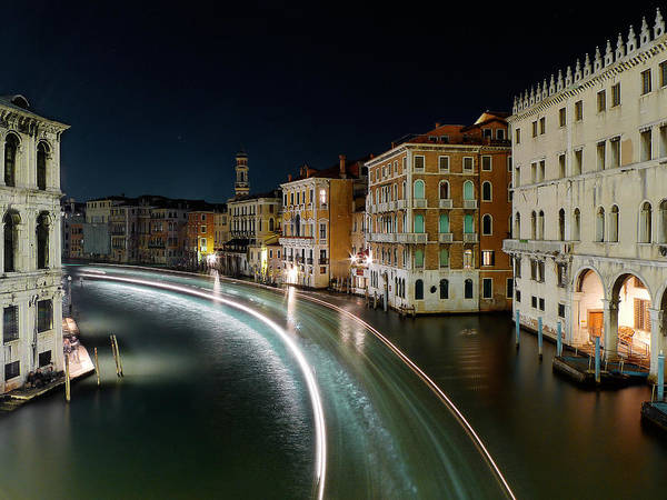 Post Art Print featuring the photograph Canal Grande at night by Bernd Schunack