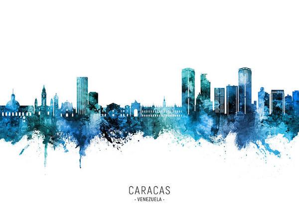 Caracas Art Print featuring the digital art Caracas Venezuela Skyline #67 by Michael Tompsett