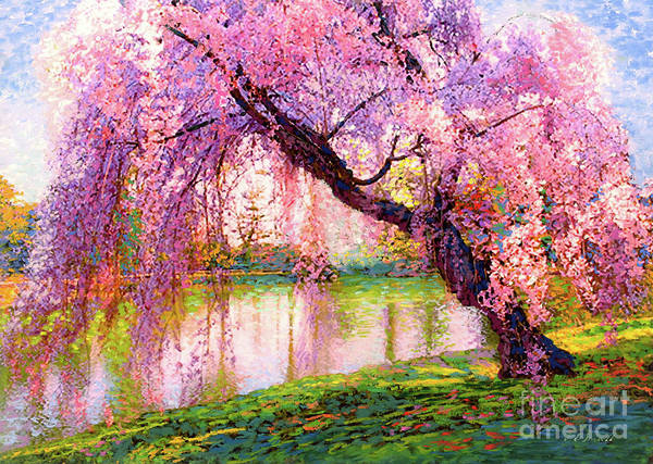Landscape Art Print featuring the painting Cherry Blossom Beauty by Jane Small