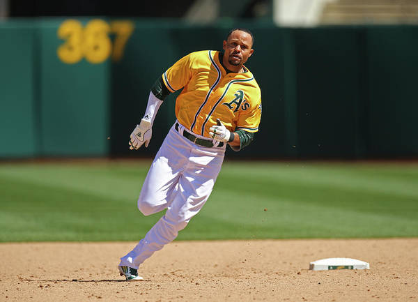 American League Baseball Art Print featuring the photograph Coco Crisp by Brad Mangin
