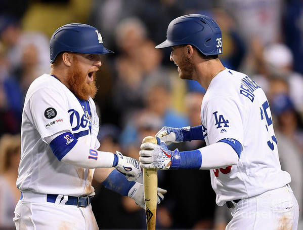 Three Quarter Length Art Print featuring the photograph Cody Bellinger and Justin Turner by Harry How