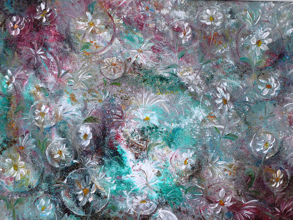 Original Flower Abstract Painting Art Print featuring the painting Daisy Dreamz by Karin Dawn Kelshall- Best