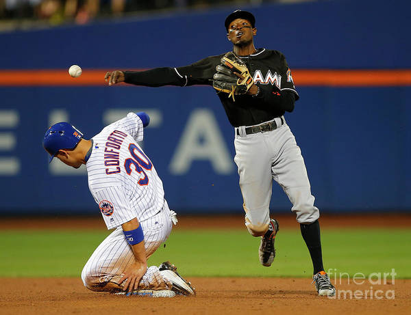 Double Play Art Print featuring the photograph Dee Gordon, Michael Conforto, and James Loney by Rich Schultz