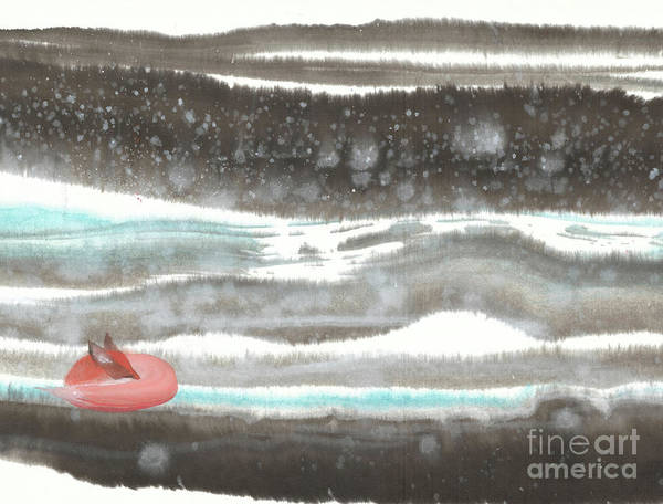 A Red Fox Asleep Dreaming Of Snowy Land. It's A Contemporary Chinese Brush Painting On Rice Paper. Art Print featuring the painting Dreamland-I by Mui-Joo Wee