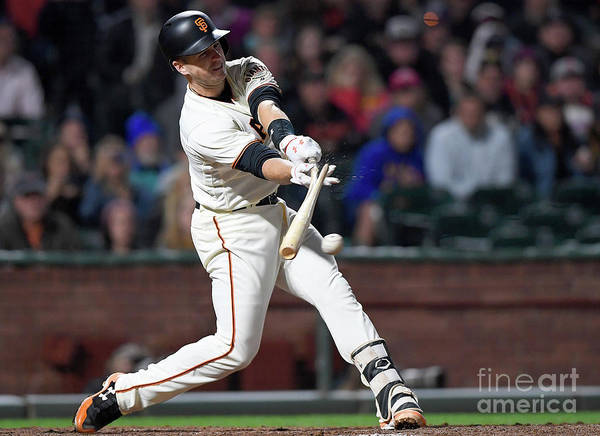 San Francisco Art Print featuring the photograph Eduardo Nunez and Buster Posey by Thearon W. Henderson