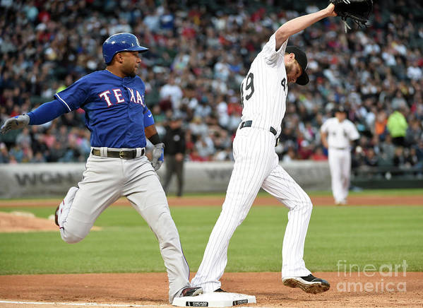People Art Print featuring the photograph Elvis Andrus and Chris Sale by David Banks