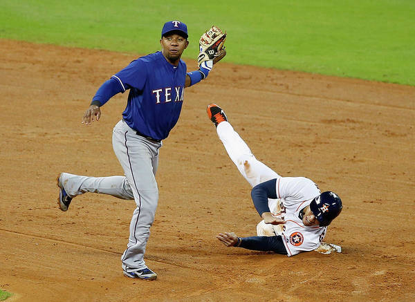 American League Baseball Art Print featuring the photograph Elvis Andrus and George Springer by Scott Halleran