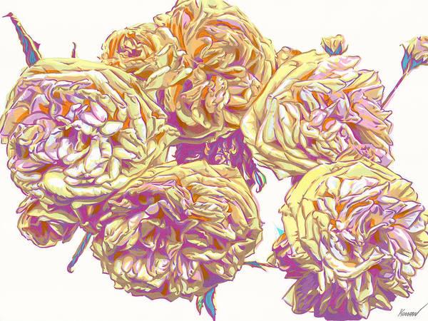 Rose Art Print featuring the mixed media English roses flowers botanical art by Vitali Komarov