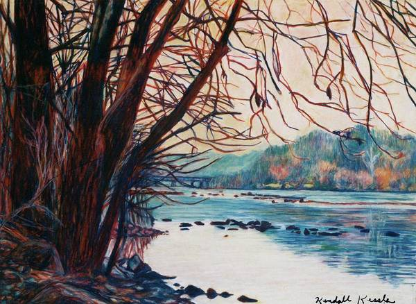New River Art Print featuring the pastel Fall on the New River by Kendall Kessler