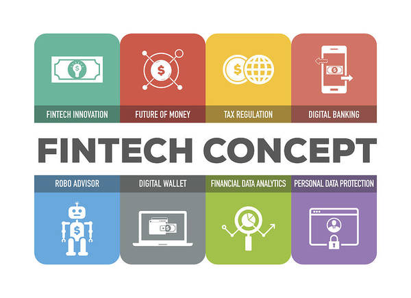 Coin Art Print featuring the drawing Fintech Concept Colorful Icons Set by Cnythzl