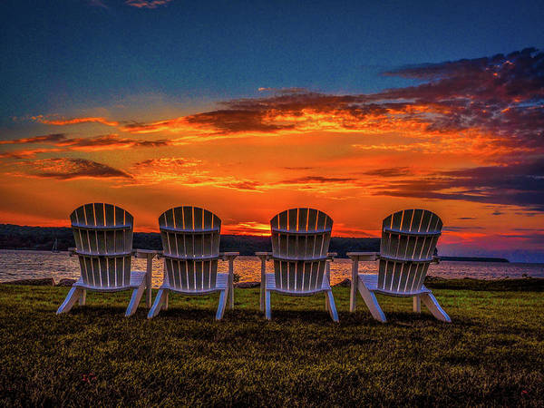 Sunset Art Print featuring the photograph Four Chairs at Sunset in Door County by James C Richardson