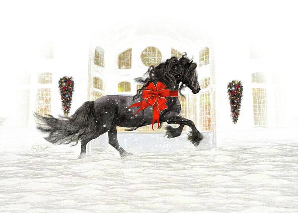 Friesian Art Print featuring the digital art Friesian Christmas by Fran J Scott