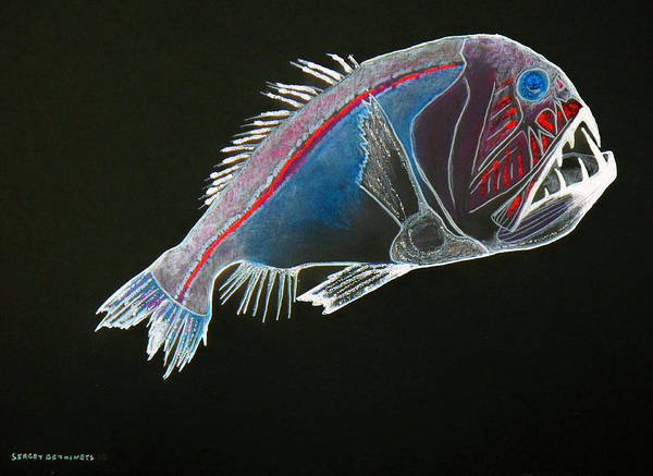 Fossil Art Print featuring the drawing From The Abyss by Sergey Bezhinets
