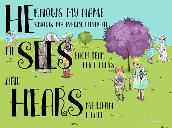 Kids Puzzles; Children's Christian Art Art Print featuring the digital art HE by Claire Tingen