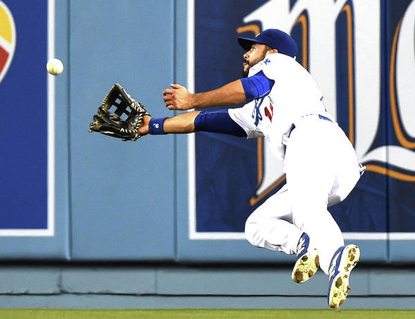 Second Inning Art Print featuring the photograph Joe Panik and Andre Ethier by Harry How