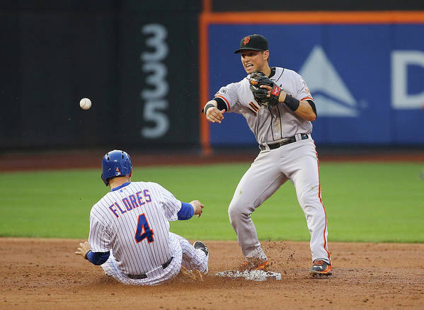 Double Play Art Print featuring the photograph Joe Panik and Wilmer Flores by Al Bello
