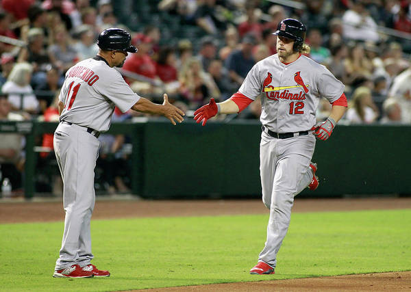 St. Louis Cardinals Art Print featuring the photograph Jose Oquendo and Mark Reynolds by Ralph Freso