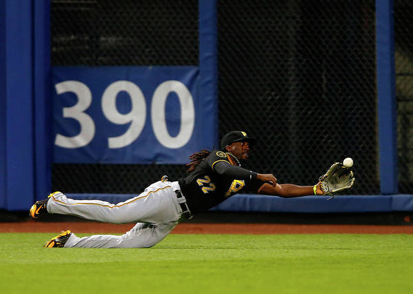 Ball Art Print featuring the photograph Juan Lagares and Andrew Mccutchen by Jim Mcisaac