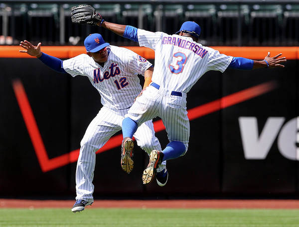 People Art Print featuring the photograph Juan Lagares and Curtis Granderson by Elsa