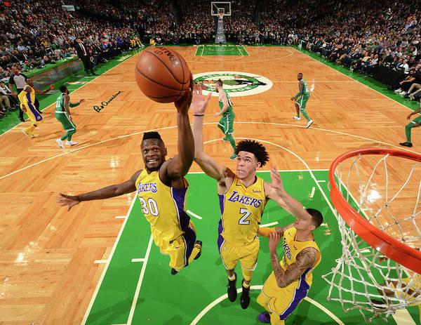 Nba Pro Basketball Art Print featuring the photograph Julius Randle and Lonzo Ball by Jesse D. Garrabrant