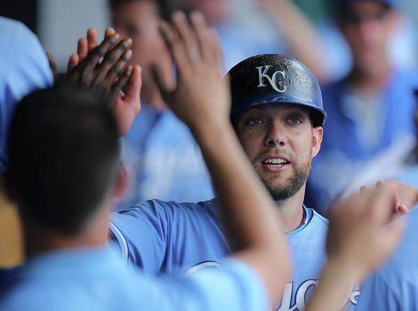 Second Inning Art Print featuring the photograph Justin Maxwell and Alex Gordon by Ed Zurga