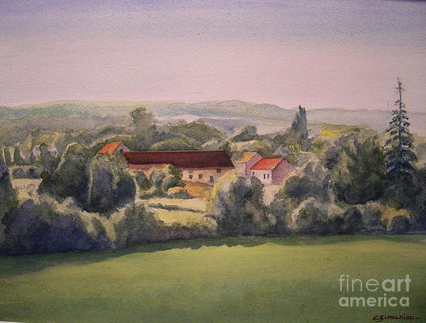 Watercolor Art Print featuring the painting Landscape in Normandie Perche by Christian Simonian