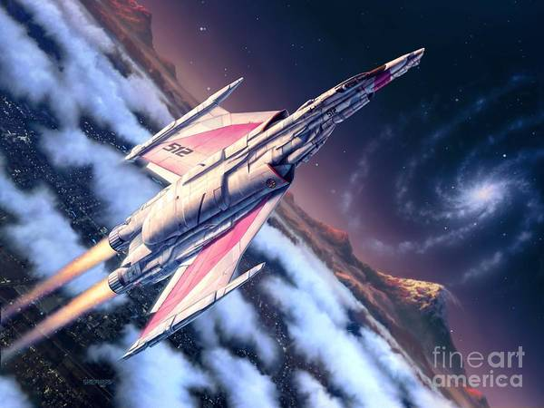 Spaceship Art Print featuring the digital art Launch At Dawn by Stu Shepherd