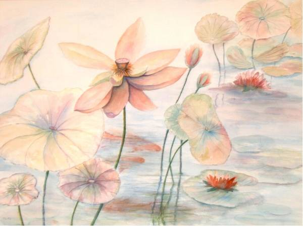 Lily Pads And Lotus Blossoms Art Print featuring the painting Lily Pads by Ben Kiger
