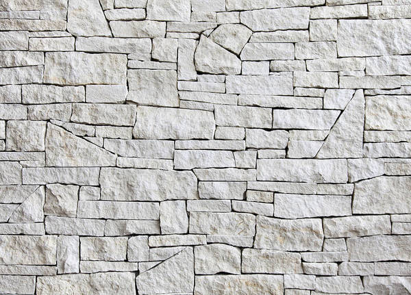 Rectangle Art Print featuring the photograph Limestone Wall - Front View, Many Blocks by Gacooksey