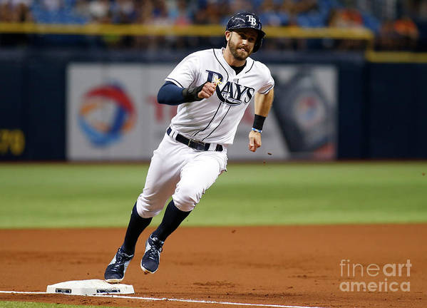 People Art Print featuring the photograph Logan Morrison and Evan Longoria by Brian Blanco