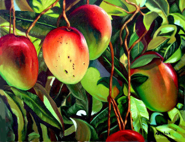 Tree Art Print featuring the painting Mangos by Jose Manuel Abraham