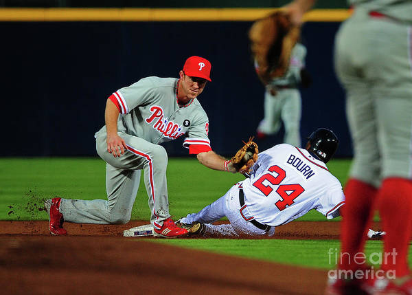 Atlanta Art Print featuring the photograph Michael Bourn and Chase Utley by Scott Cunningham