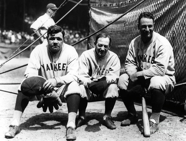 American League Baseball Art Print featuring the photograph Miller Huggins, Lou Gehrig, and Babe Ruth by Transcendental Graphics