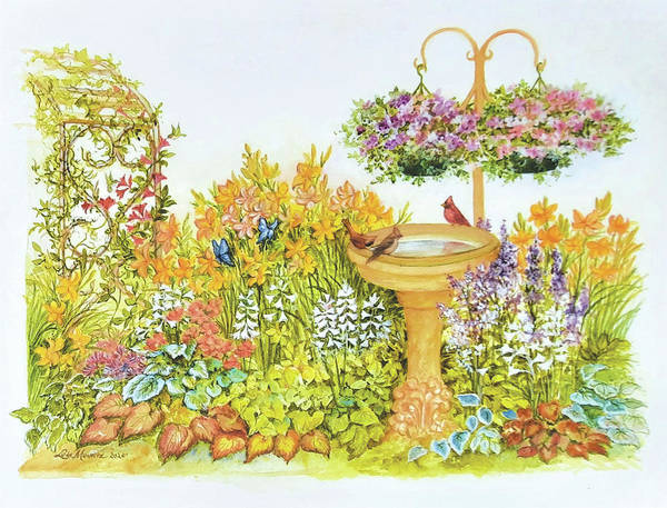 Garden Art Print featuring the painting My Summer Garden by Lois Mountz