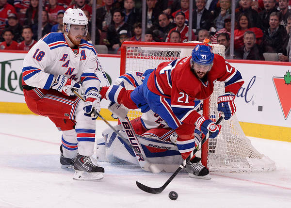 Marc Staal Art Print featuring the photograph New York Rangers v Montreal Canadiens - Game Five by Richard Wolowicz